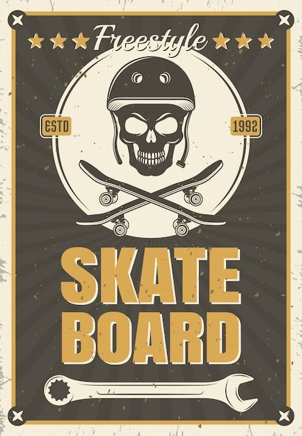 白い丸い、ベクトルイラストでスカル機器のスケートボードビンテージポスター Premiumベクター