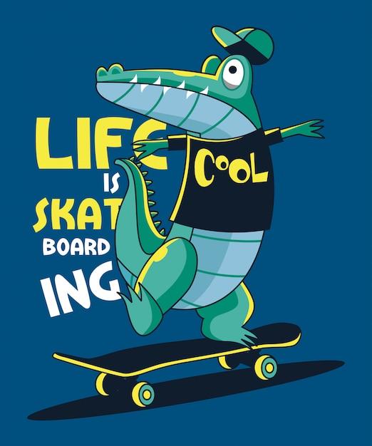 Skateboarder crocodile vector design Premium Vector