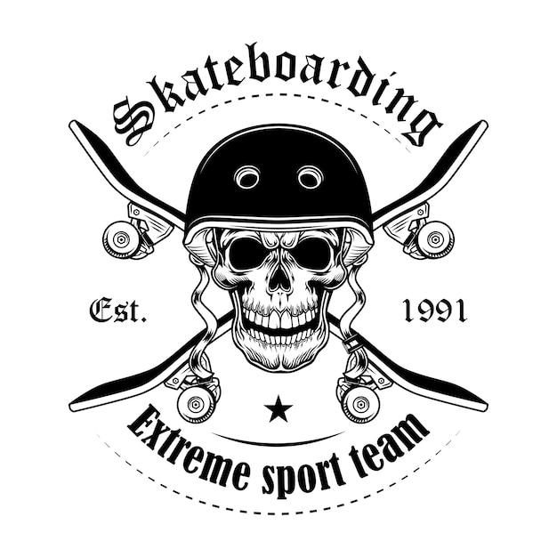スケートボーダーの頭蓋骨のベクトル図です。交差したスケートボードとテキストのキャラクターの頭 無料ベクター