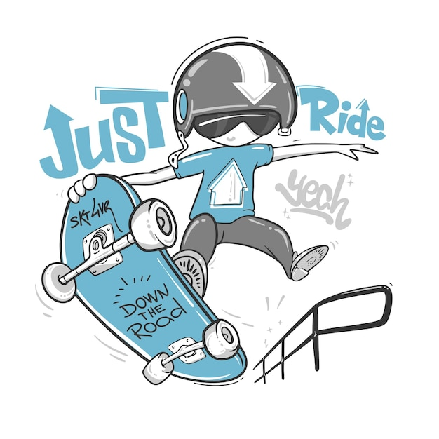 Skateboarder typography, t-shirt graphics,  print design. Premium Vector