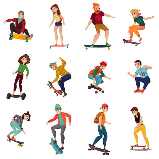 Set di caratteri di skateboarder Vettore gratuito
