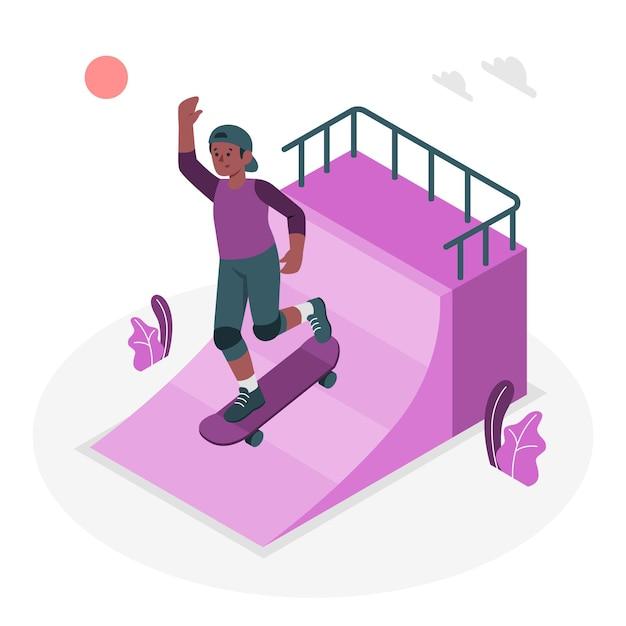 スケートボードのコンセプトイラスト 無料ベクター