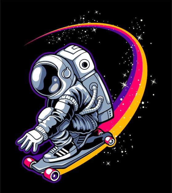 Скейтбординг в небе Premium векторы