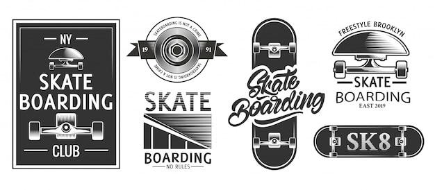 Skateboarding logos or emblems in monochrome style. Premium Vector