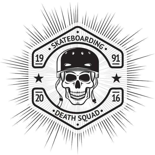 Skateboarding vintage label with skull in helmet. Premium Vector