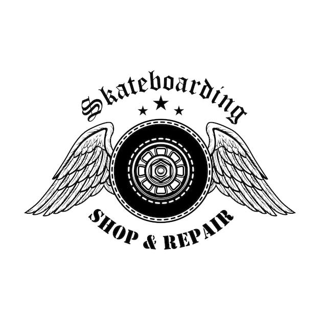 スケートボードは、シンボルのベクトル図を修復します。天使の羽とテキストのボードホイール 無料ベクター