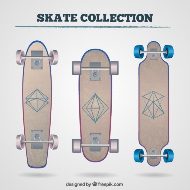 Skateboards with geometrical drawings