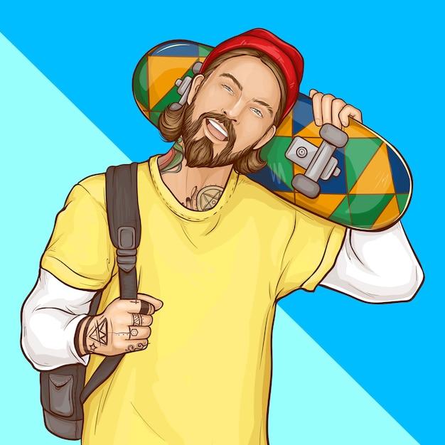 Skater boy, hipster holding skateboard, pop art Free Vector