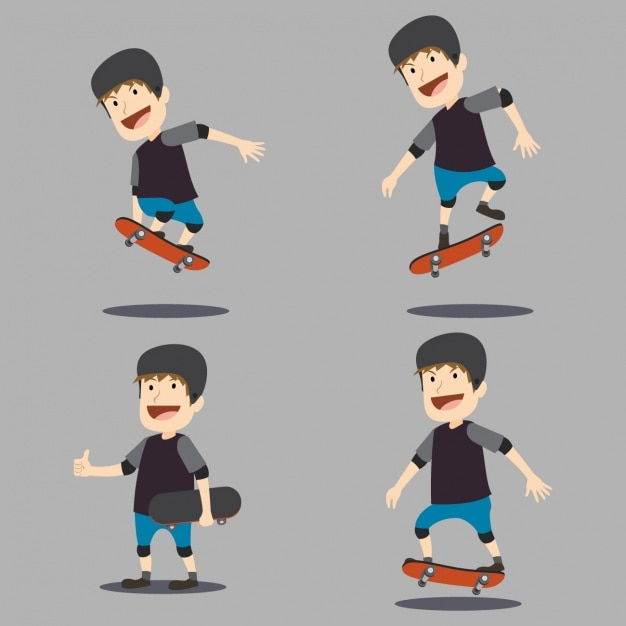 Character Design Download : Skater character design vector free download