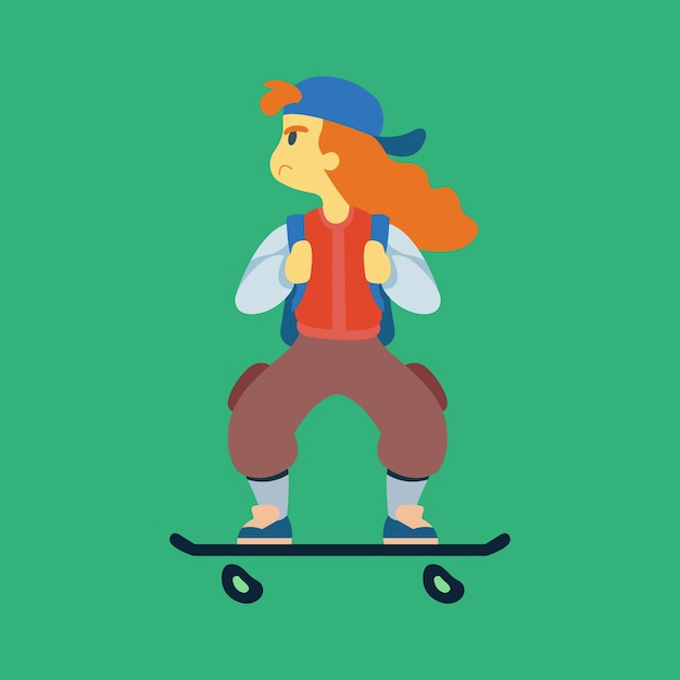 Skater girl character flat design vector Premium Vector