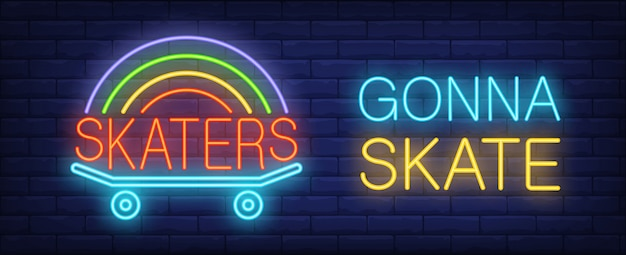 Skater gonna skate neon sign. Skateboard with\ rainbow on it on dark brick wall.