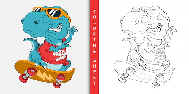 Skater t-rex dinosaur cartoon, coloring sheet Premium Vector