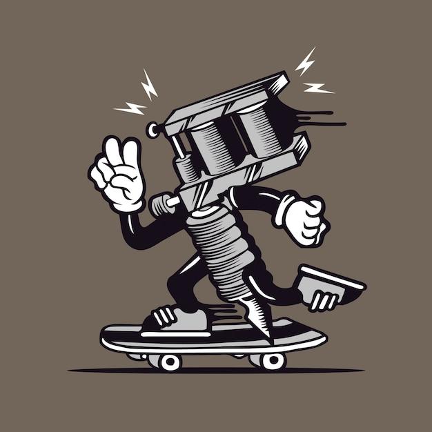 スケータータトゥーマシンスケートボードキャラクターデザイン Premiumベクター