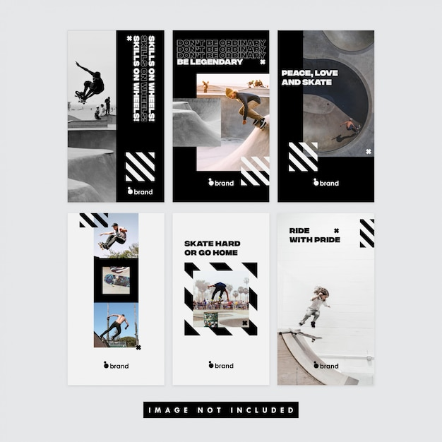Skaters social media instagram story Premium Vector