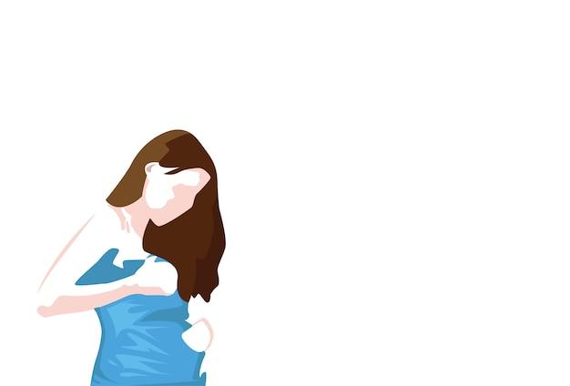 若い妊娠中の女性skecthシンプルなラインのベクトル図 Premiumベクター