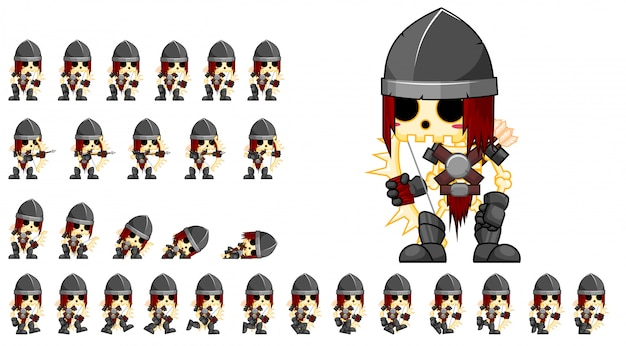 Skeleton archer game sprite Premium Vector