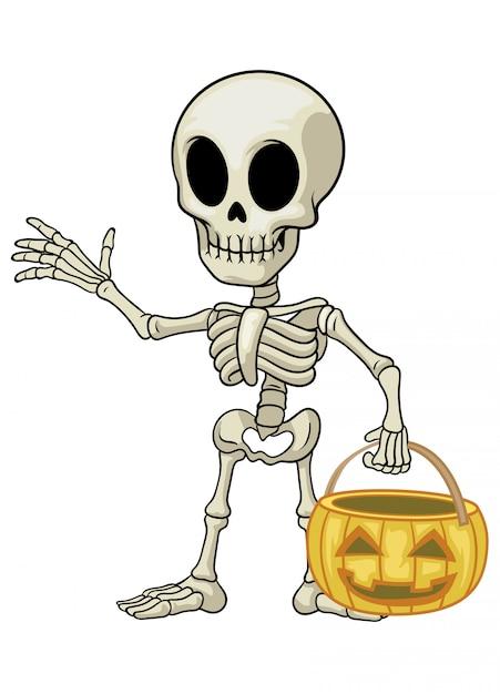 Skeleton cartoon mascot hold the halloween pumpkin Premium Vector