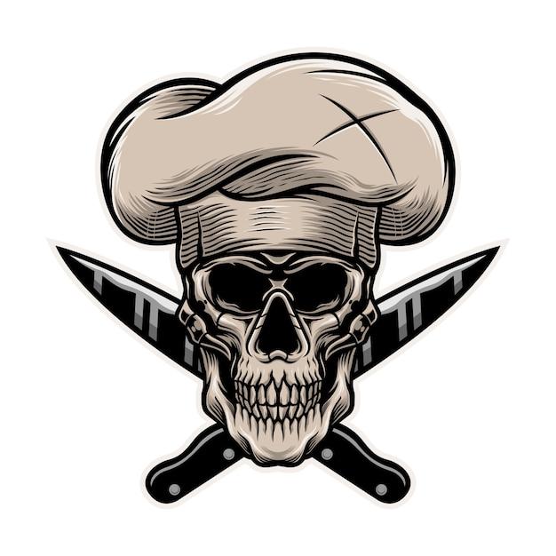 Скелет шеф-повара с шаблоном иллюстрации ножей Premium векторы