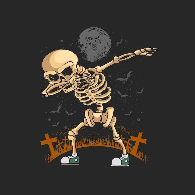 Skeleton dabbing dance illustration  graphic Premium Vector