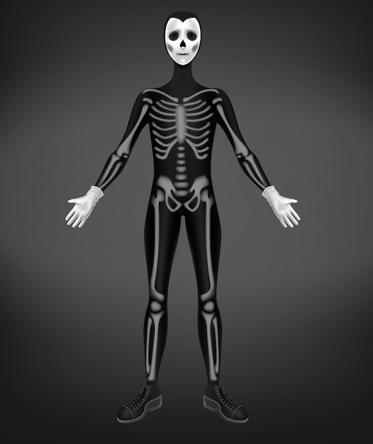 Skeleton or death costume for halloween party isolated on black background. Free Vector