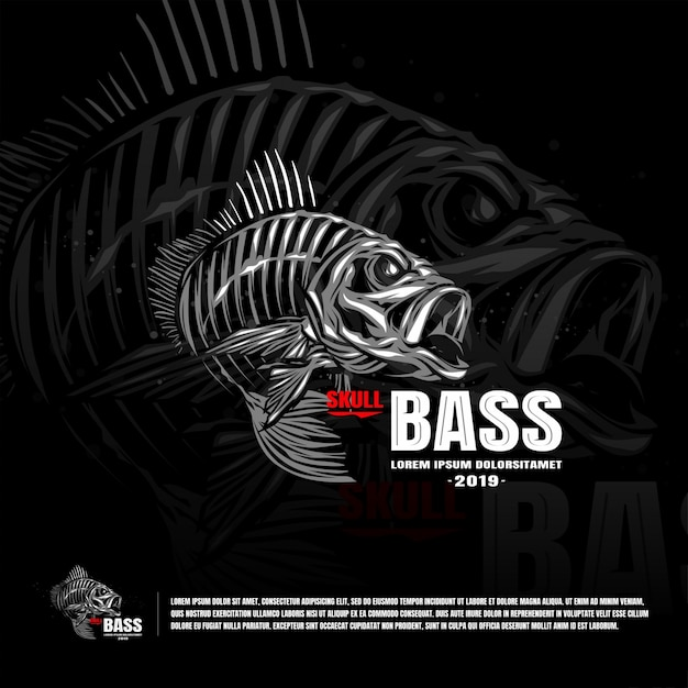 Skeleton fish bass sport team logo template Premium Vector