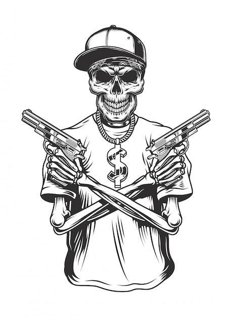 Skeleton gangster with guns Free Vector
