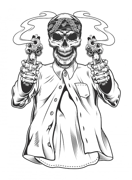Skeleton gangster with revolvers Free Vector
