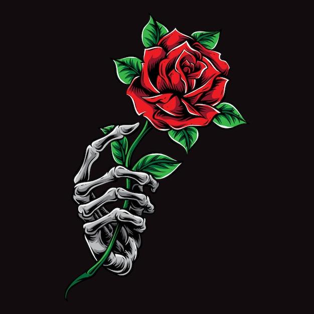 Skeleton hand holding rose Premium Vector