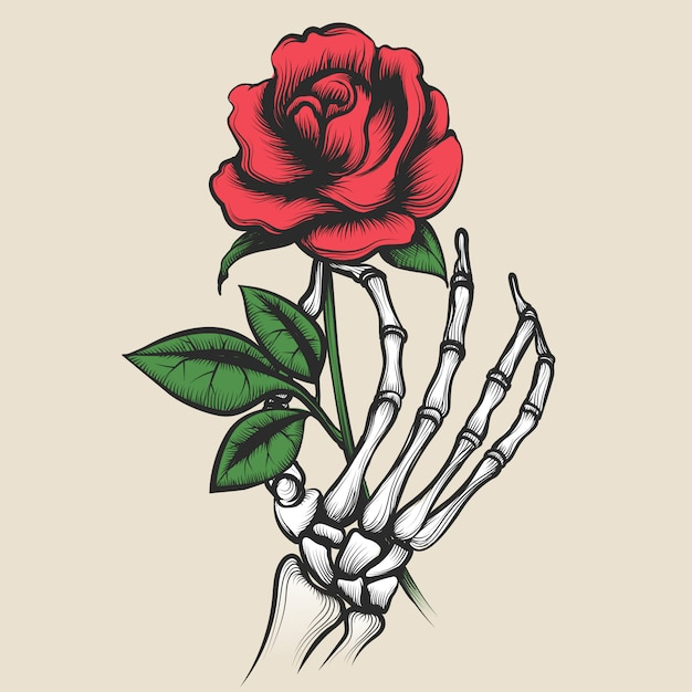 Skeleton hand with rose tattoo style Premium Vector