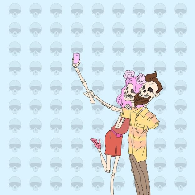 Skeleton hipster couple taking selfie Premium Vector