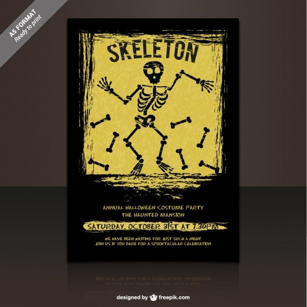 skeleton party flyer template vector free download