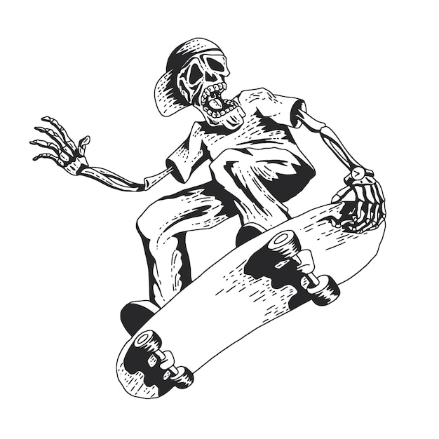 Scheletro che gioca a skateboard Vettore gratuito