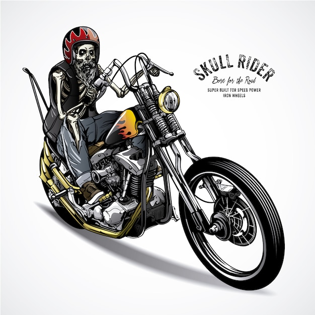 Skeleton Riding A Motorbike Premium Vector