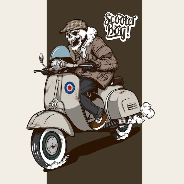 Skeleton Riding A Scooter Vector Premium Download