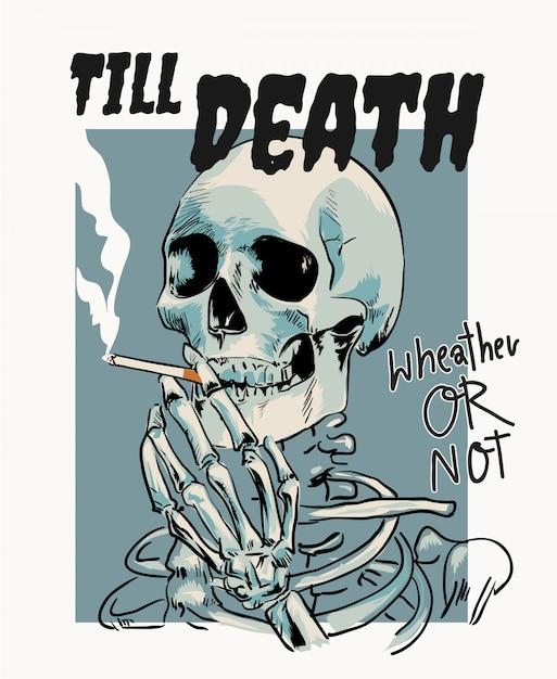 Skeleton smoking cigarrete cartoon illustration Premium Vector