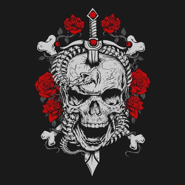 スケルトンスネークと剣の頭蓋骨 Premiumベクター