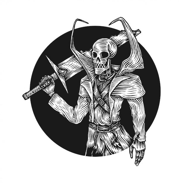 Skeleton swordsman Premium Vector
