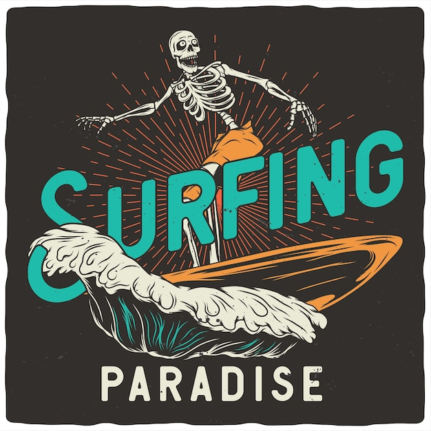 Skeleton with surfing board Premium Vector