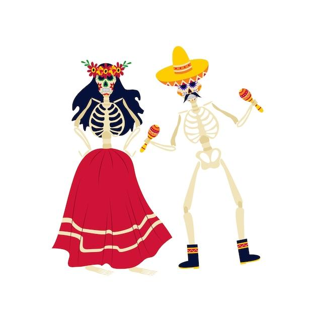 멕시코 민족 의상을 입은 해골은 Dia De Los Muertos 축하 행사, 일러스트레이션을 위해 만화 캐릭터를 춤추고 음악을 연주합니다. 죽음의 날. 프리미엄 벡터