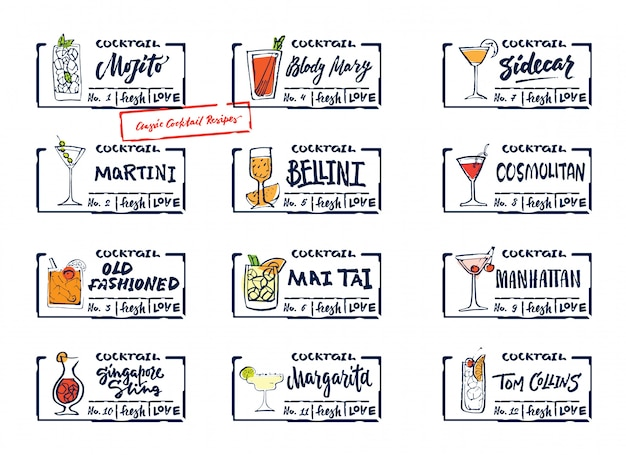 Set di etichette di bevande alcoliche di schizzo Vettore gratuito