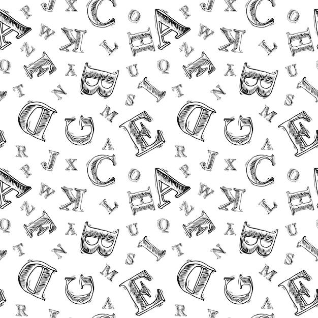 Sketch Alphabet Seamless Pattern Premium Vector