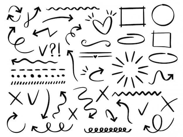 화살표와 프레임을 스케치하십시오. 손으로 그린 화살표, 낙서 분배기 및 원형, 타원형 및 사각형 프레임 세트. 다른 추상 상징의 컬렉션입니다. 점선과 곡선. 낙서 요소 프리미엄 벡터