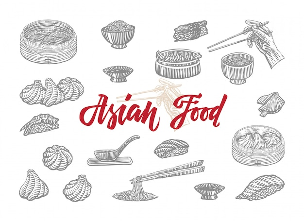 Sketch asian food collection Free Vector