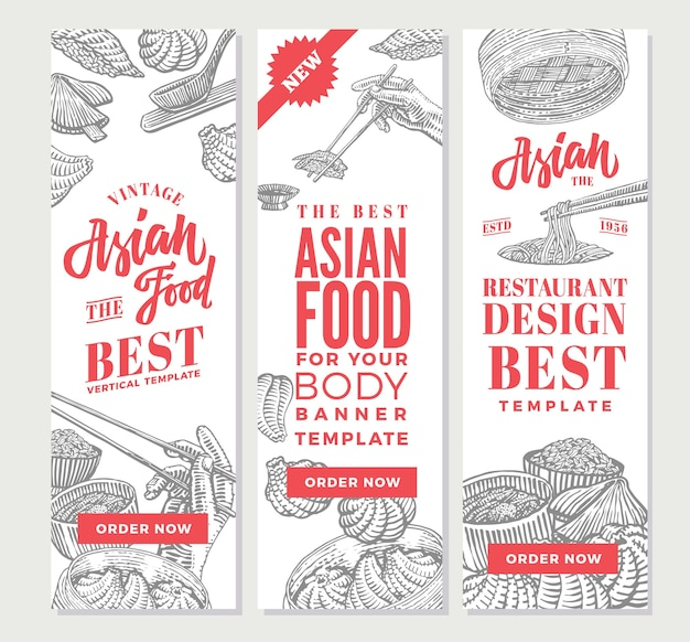 Sketch asian food vertical banners Free Vector
