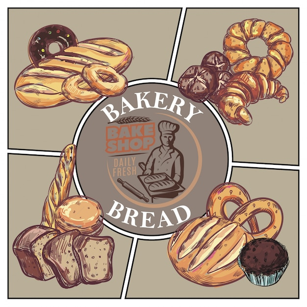 Sketch bakery products concept with bread french baguette croissant bagel donut muffin pretzel and bake shop emblem Free Vector