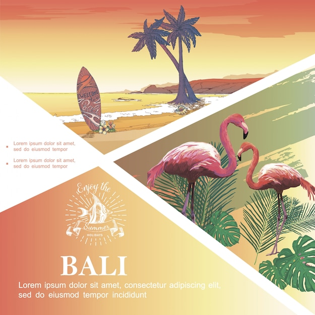 Sketch bali vacation template with flamingos monstera and palm leaves tropical beach landscape Free Vector