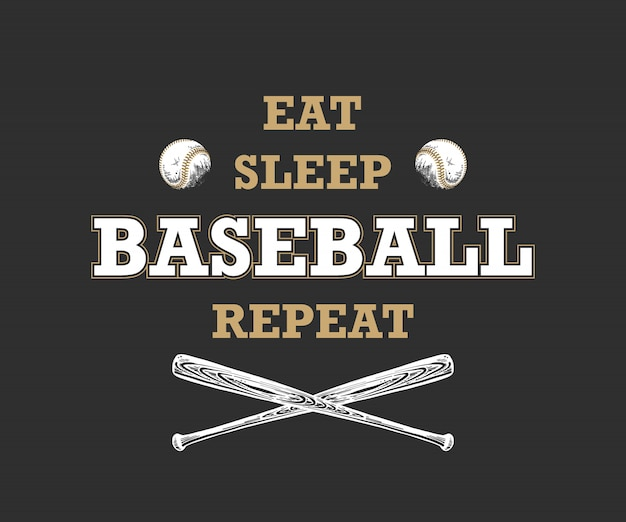 Sketch of ball and bat, motivational typography Premium Vector