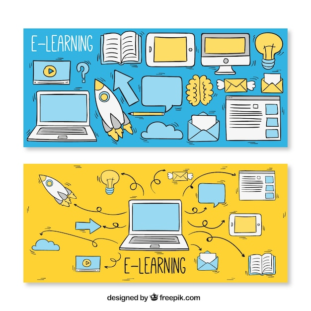 Sketch banners for e-learning elements Free Vector