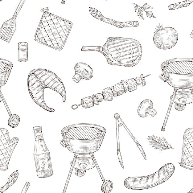バーベキューチキングリル野菜炒めステーキ肉ピクニックパーティーをスケッチします。 Premiumベクター