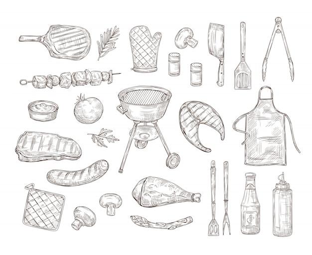 バーベキューをスケッチします。バーベキュー落書き図面グリルチキンソースバーベキューグリル野菜のフライドステーキ肉ローストソーセージヴィンテージ Premiumベクター